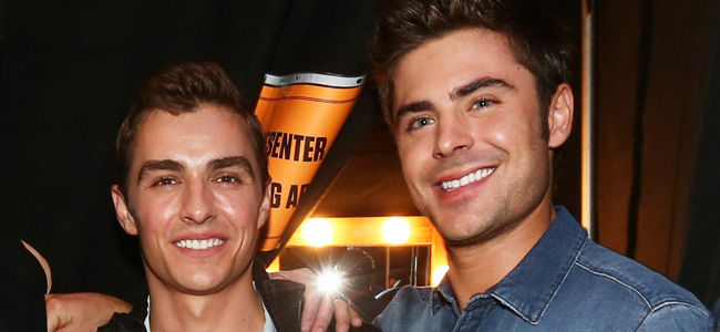 LOS ANGELES, CA - APRIL 13:  (L-R) Actors Seth Rogen, Dave Franco and Zac Efron attend the 2014 MTV Movie Awards at Nokia Theatre L.A. Live on April 13, 2014 in Los Angeles, California.  (Photo by Christopher Polk/Getty Images)