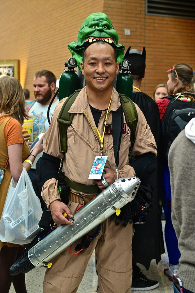 Grand Rapids Comic Con, project-nerd, Ghostbusters, Slimer, cityscape, best cosplay, awesome, Marvel, DC Comics, Dynamite, cosplay, costuming, reddit09