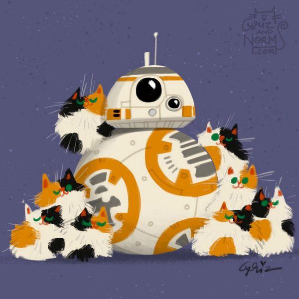 Star Wars Cats by GritzandNorm1, Star Wars, kitties, The Force Awakens, fan art, GrizandNorm, BB-8, cosplay