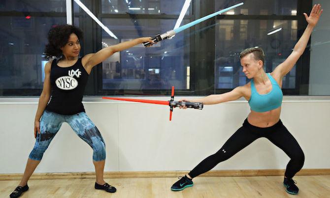lightsaber star wars fitness class workout